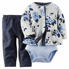 Carters Baby Girls 3-Piece Cardigan Set NB 3 6 9 12 18 24Months Outfit Clothes