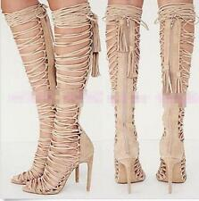 Womens Leather Strappy Lace Up Knee High Sandals Boots High Heels Pumps Shoes Sz