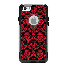 OtterBox Commuter for iPhone 5S SE 6 6S 7 Plus Black Red Damask Pattern