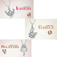 Silver Plated 12 Constellations Shining Crystal Pendant Exquisite Necklace