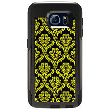 CUSTOM OtterBox Commuter for Galaxy S4 S5 S6 S7 Black Yellow Damask Pattern