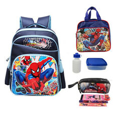 """New 16"""" Boys School Backpack Spiderman Kids Book Bags Lunch Bag Box Pencil Case"""