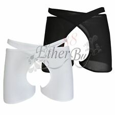 Mens Smooth Mesh Boxer Brief Underwear Medium Size Crotchless Underpant Shorts