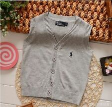 100% Cotton kids Cardigan Boys Girls Children's Knit Cardigan waistcoat 2-6 Y