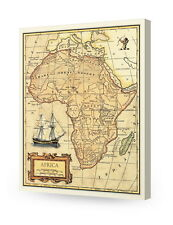 Africa old map wall art. Giclee print decoration. Canvas Museum Wrapped.