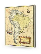 South America old map wall art. Giclee print decoration. Canvas Museum Wrapped.