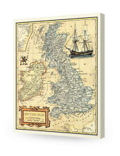 British Isles old map wall art. Giclee print decoration. Canvas Museum Wrapped