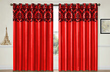 Eyelet curtains Ring Top Fully Lined DAMASK Pair Ready made Tie Backs RED BLACK