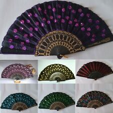 Chinese Peacock Fan Folding Silk HAND FAN With Flower Wedding Christmas Party