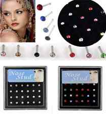 Surgical Steel Rhinestone Crystal Nose Ring Stud Body Piercing Jewelry 24PCS hs