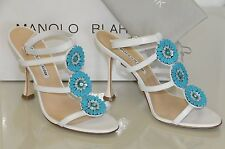 $895 New Manolo Blahnik ZIONITA White Turquoise Beaded Sandals Shoes 36.5 38 40