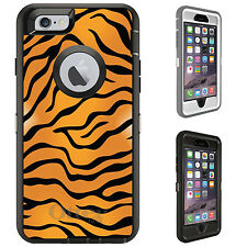 CUSTOM OtterBox Defender for iPhone 6 6S PLUS Orange Black White Tiger Skin