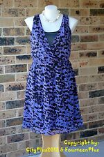 City Chic Dress - Size L (20) - SHEER CROSS OVER (Purple Iris) - New with tags