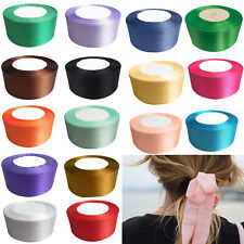 25mm x 22 Metres Full Roll Quality Double Sided Faced Satin Ribbon 20 Colours UK