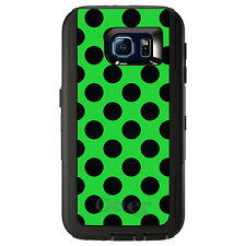 CUSTOM OtterBox Defender Case for Galaxy S5 S6 S7 Black & Green Polka Dots