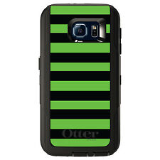 CUSTOM OtterBox Defender Case for Galaxy S5 S6 S7 Black & Green Bold Stripes