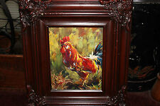 Stunning Rooster Chicken Oil Painting On Canvas-Signed Kudron-Framed-Lifelike