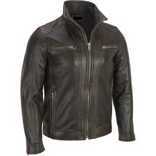 Men's Black Rivet Leather Faded-Seam Jacket Genuine Cowhide Leather - ALL SIZES