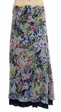 WOMENS Navy Floral Reversible Long Floaty Maxi Beach Skirt SIZES 10,12,16,18