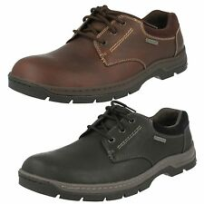 Mens Clarks Stanten Walk GTX Black Or Mahogany Leather Lace Up Waterproof Shoes