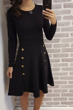 Ladies Womens Military Long Sleeve Celebrity Inspired Bodycon Party Dress 8-14