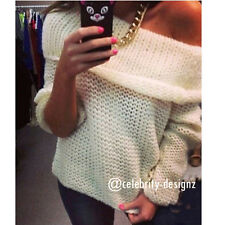 kn79 Celebrity Style Retro Chunky Off Shoulder Knitted Sweater Jumper