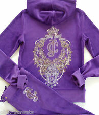 Juicy Couture JC Floral Crest Velour Embellished Hoodie Pants Tracksuit