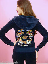 Juicy Couture Track Blue Mirrored Crown Tracksuit Velour Hoodie Pants