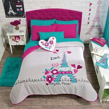 Girls Teens Twin and Queen Size Paris Comforter Set with matching curtains