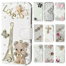 New Bling Diamond Crystal PU Leather Wallet Case Stand Cover Skin For HTC Phones