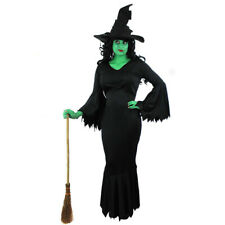 LADIES WICKED WITCH FANCY DRESS COSTUME GREEN FACE PAINT HALLOWEEN FILM MOVIE