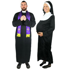 COUPLES PRIEST AND PREGNANT NUN COSTUME RELIGIOUS FUNNY FANCY DRESS LADIES MENS