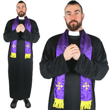 MEN'S PRIEST COSTUME VICAR RELIGIOUS FANCY DRESS ROBE AND SCARF STAG DO S M L XL