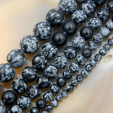 """Natural Snow Flake Obsidian Gemstone Round Beads 15.5"""" 4mm 6mm 8mm 10mm 12mm"""