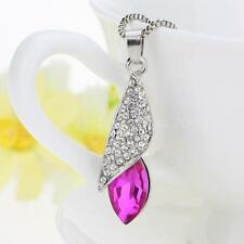 Women's Silver Chain Necklace Pendant Crystal Drop Rhinestone Pave Fashion
