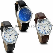 Leather Watch Round Case Arabic Numerals Quartz Men's Wrist Watch Fashion Gift