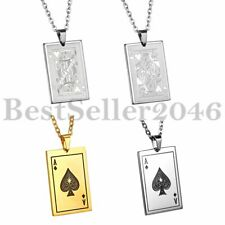 Men's Unisex Stainless Steel Poker Playing Card Charm Pendant Necklace Chain