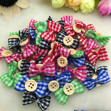 NEW DIY 10/50/100 Pcs Satin Ribbon BOW Button Appliques/Craft/Wedding Decoration