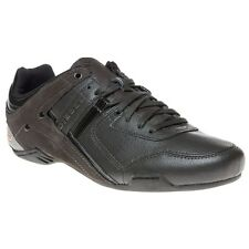 New Mens Diesel Grey Korbin II Lux Leather Trainers Lace Up