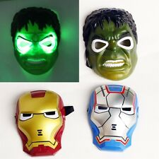 Super Hero Spiderman Hulk Batman Iron Man LED Halloween Mask Kids Toy UK Local