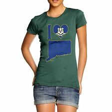 Twisted Envy Women's I Love Connecticut USA State T-Shirt