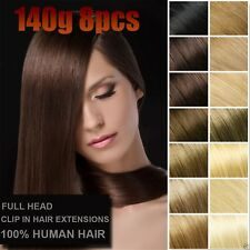 140g Thick Virgin Remy Clip In Real Human Hair Extensions,Black,Brown,Blonde US