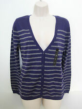 BANANA REPUBLIC Womens Purple/Gray Striped Cardigan Sweater Sizes Small NWT