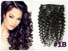 170g 200g Deep/Curly Wavy Thick Clip In Real Human Hair Extensions,Natural Black