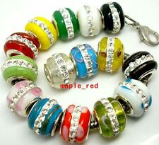 Fashion High Quality Lampwork Glass Rhinestone Beads fit European Charm Bracelet
