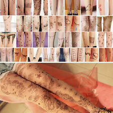 Trendy Sexy Women Tattoo Pattern Transparent Socks Tights Pantyhose Stockings