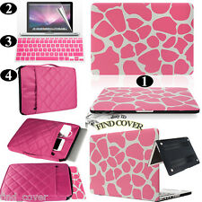 Pink Giraffe Rubberized Hard Case Carrying Bag Keyboard Cover For Apple Macbook