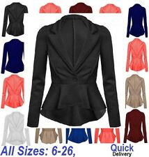 Women Ladies Crop Frill Shift Slim Fit Fitted Peplum Blazer Jacket Coat 6-22 ScJ
