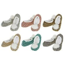 Womens Ladies Adult Snoozies Nobby Knit Design Ballet Slippers Assorted