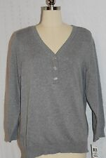NWT KAREN SCOTT WOMAN PLUS SIZE LONG SLEEVE GREY HEATHER HENLEY SIZES 1X 2X 3X